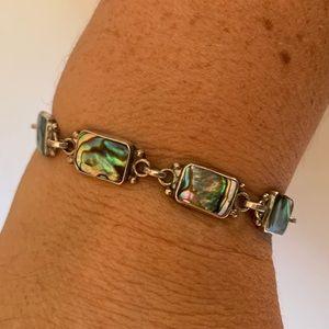 Vintage Sterling Mexico Abalone Link Bracelet